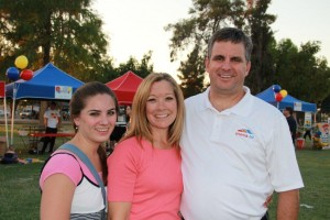 "Mesa City Manager Chris Brady at ""Celebrate Mesa"" event with wife Shawna and daughter Whitney"