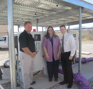Yavapai College Viticulture Reclaimed Water Line -DRyan and Mayor D Joens and Dean James Perry-Dean at YC CROPPED