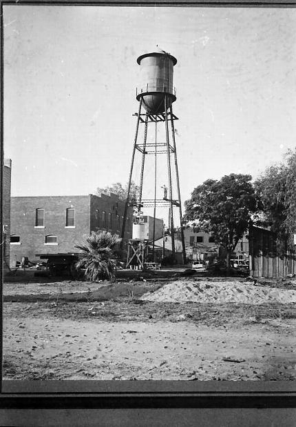 The water tower that was part of the purchase of the Water Works Company from Floyd Holmes Sine, which was sold to the Town of Glendale for $12,000 on Feb. 25, 1915 and resulted in the new Municipal Water Works Department. Photo courtesy: Glendale Arizona Historical Society.