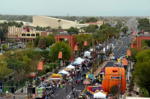 Aerial view of Downtown Chandler during a block party.  Photo from the City of Chandler
