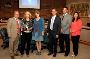 Tempe City Clerk Brigitta Kuiper recognized as AMCA Clerk of the Year at Tempe City Council Meeting with Mayor Mark Mitchell and Councilmembers Lauren Kuby, Kolby Granville, Joel Navarro & Robin Arredondo-Savage.