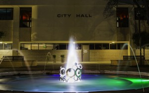 The park in front of City Hall boasts the Santa Cruz County Wall of Honor, a splash pad for children, and an LED fountain. Photo from City of Nogales.