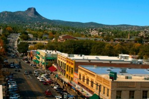 A birds-eye view of Downtown Prescott.  Photo from the City of Prescott