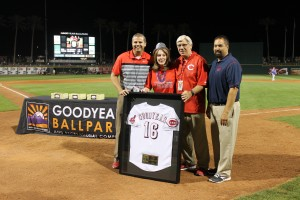 Ryan Lantz, director of Arizona operations for the Cleveland Indians, 1 Millionth Fan Jean Wilson, Mike Saverino, director of Arizona operations for the Cincinnati Reds and Bruce Kessman, general manager of Goodyear Ballpark. Photo Courtesy of City of Goodyear.
